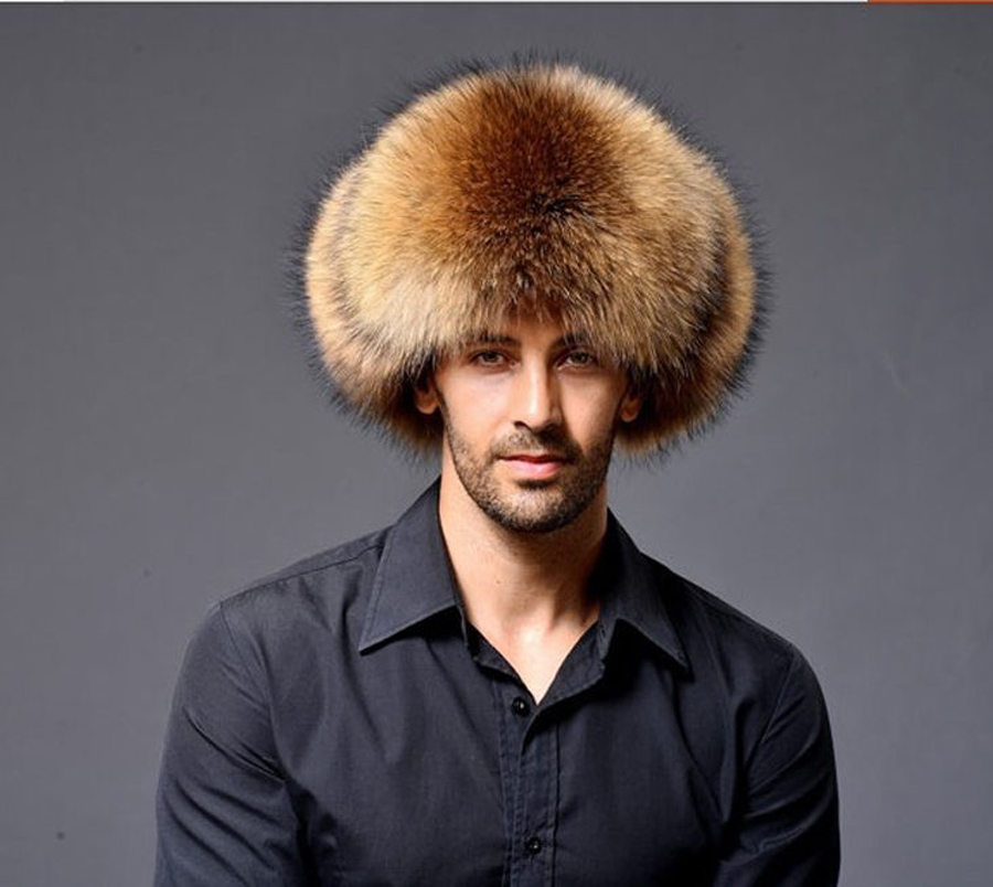 MEN'S TRAPPER FOX RACCOON FUR HAT REAL LEATHER Ushanka SHAPKA CHAPEAU