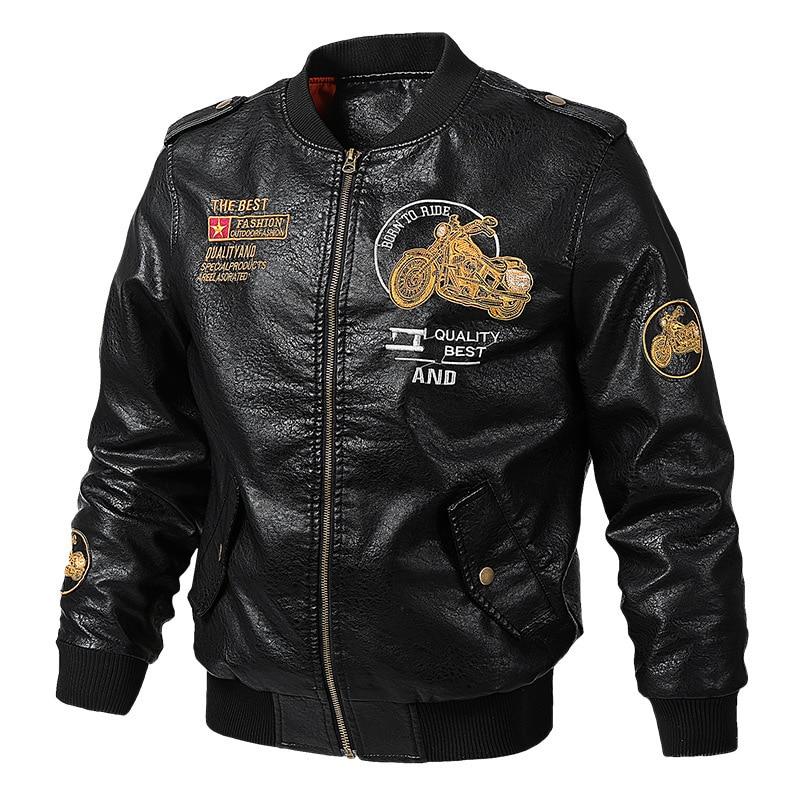 Nouveau printemps automne PU manteaux et vestes baseball manteau hommes veste d'hiver en cuir biker veste vêtements de sport