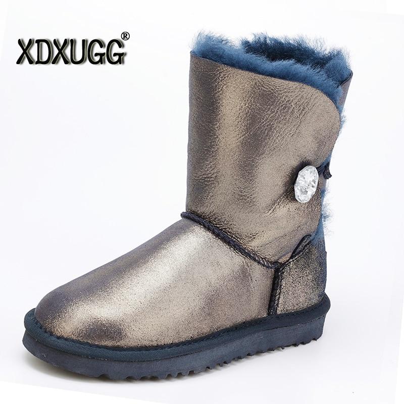 Australia sheep skin wool snow boots female calf height of
