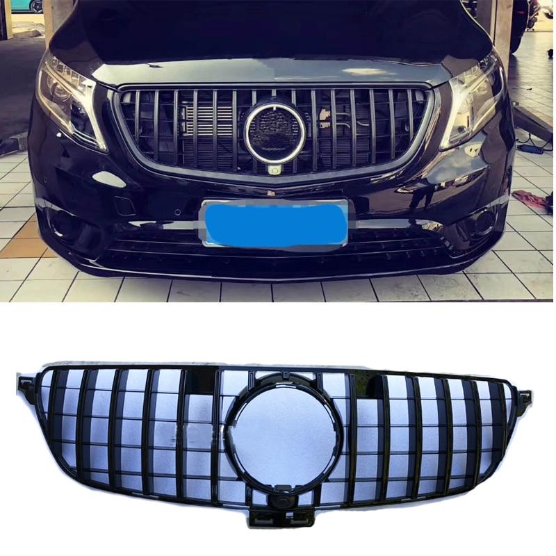 Grille black Emblem Front Bumper mesh gt gtr Vertical bar Grille For  benz vito 2016~2018 grille