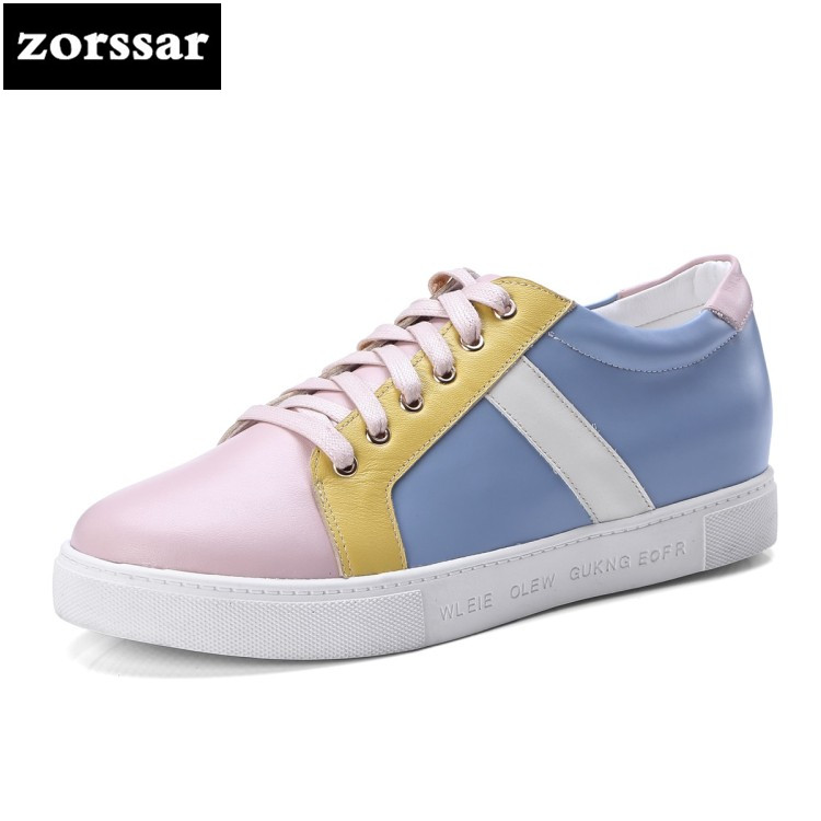 {Zorssar} 2018 Genuine cow Leather women shoes sneakers Casual flats sport shoes Fashion Mixed colors Casual Female flat shoes instantarts women flats emoji face smile pattern summer air mesh beach flat shoes for youth girls mujer casual light sneakers