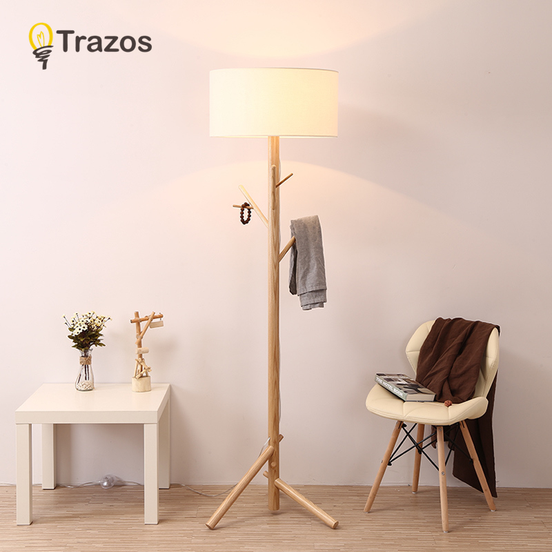 TRAZOS Modern White Black Floor Lamp With Fabric Lampshade For Living Room Bedroom Bedside E27 Hotel Cloth Standing Light modern macaron floor lamps for living room bedroom loft standing lights white yellow fabric lampshade decor home lighting e27