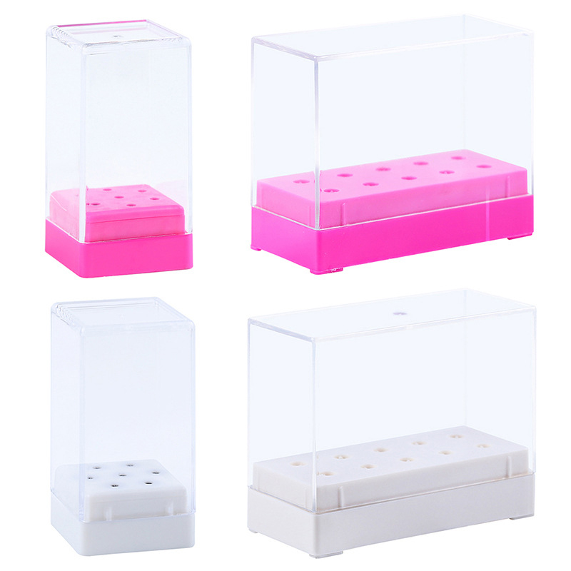 10 Holes Nail Drill Head Bits Display Holder Standing With Cover Storage Box Nail Art Equipment Grinding Heads Display Manicure