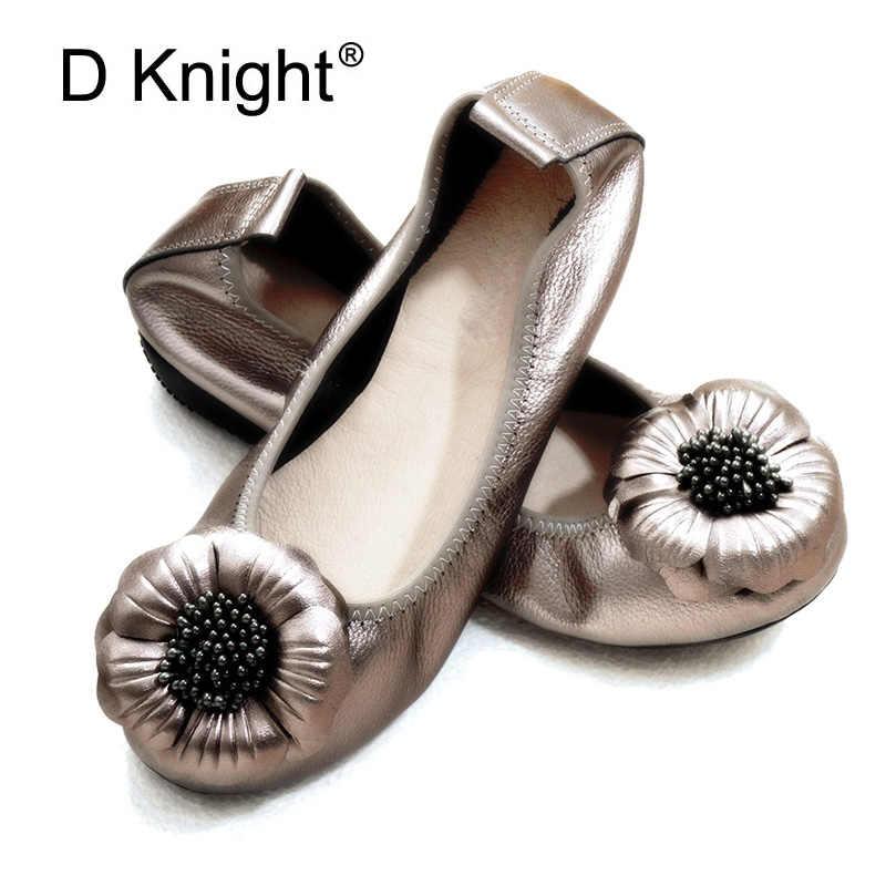 Novedad Zapatillas De Ballet De Piel Autentica Para Mujer Tallas Grandes 43 Mocasines Negros Para Mujer Zapatos Planos Con Punta Redonda Y Flor Para Mujer Zapatos Planos De Mujer Aliexpress