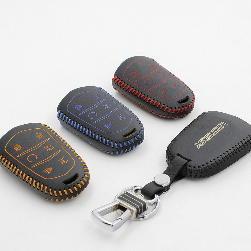 luckeasy for cadillac escalade 2015 6 buttons FASHION Genuine Leather Car Key case wallet holder remote key cover