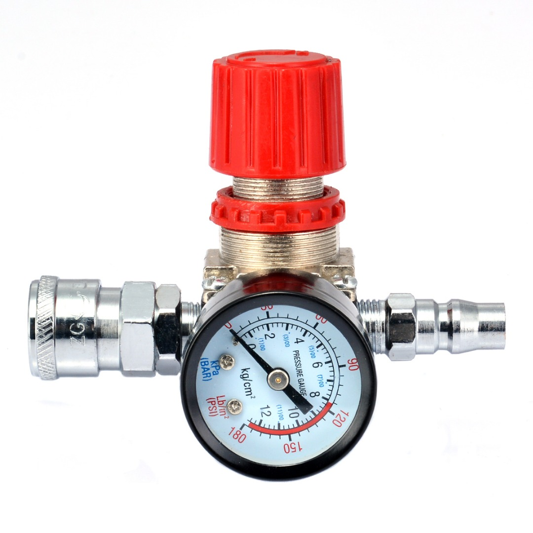1pc Air Compressor Valve 1/4 180PSI Air Compressor Regulator Pressure Switch Control Valve with Gauges 1pc air compressor pressure regulator valve air control pressure gauge relief regulator 75x40x40mm