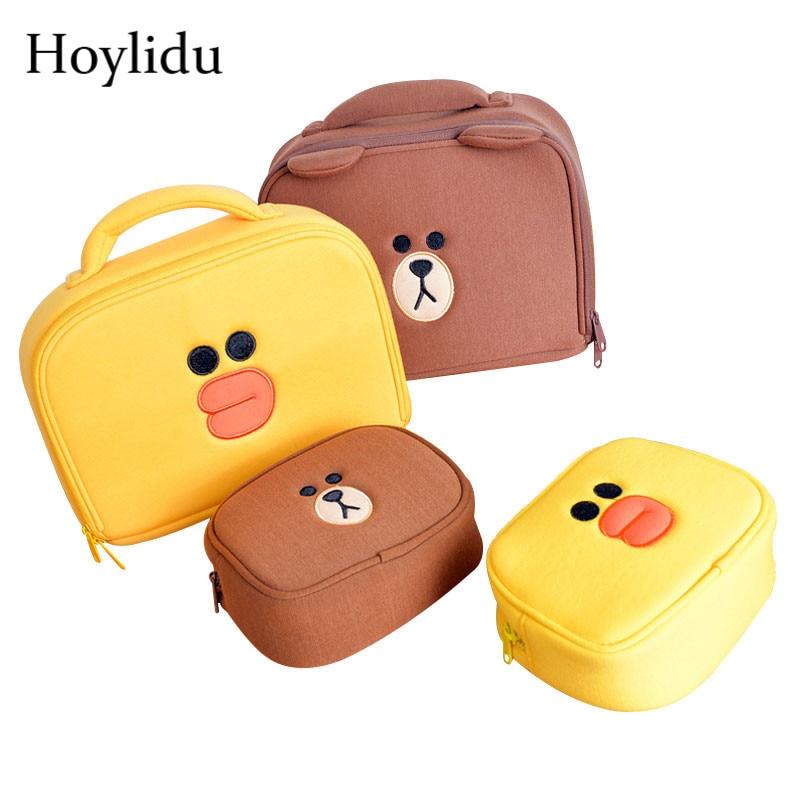 Cartoon Cosmetic Bags Women Cute Bear Duck Cosmetics Box Case For Girls Make Up Travel Organizer Beauty Toiletry Makeup Pouch