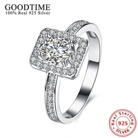 Luxury Wedding Ring Real Solid Silver Jewelry Square Cubic Zirconia Ring 925 Sterling Silver Rings For