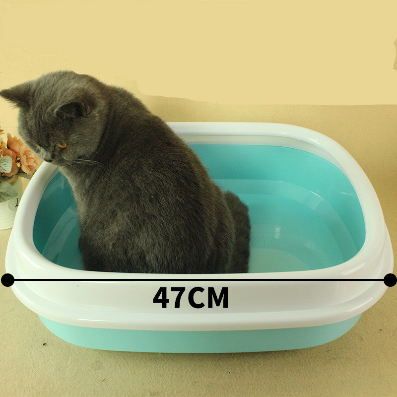 Petshy Semi Enclosed Pet Cat Bedpans Sand Basin Puppy Kitten Color Plastic Detachable Anti Splash Oval Cat Litter Basin Toilet