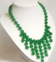 NEW fashion 8MM Ravishing Asian Green jades Beads Delicate necklace 18