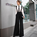 Original New 2016 Brand Wide Leg Pants Spring Autumn Hitz British Style Loose Fashion Casual Black Overalls Woman Wholesale