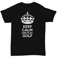 7a04461c1d Mantenha A Calma E Jogar a Camisa dos homens T SportER Golfista Citações  Engraçadas Impressão T