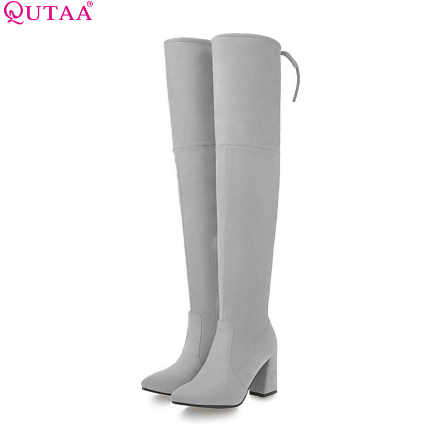 QUTAA 2018 Women Fashion Over The Knee High Boots Solid All Match Square High Heel Pointed Toe Zipper Ladies Boots Size  34-43 qutaa 2017 women over the knee high boots all match pointed toe high quality thin high heel pointed toe women boots size 34 43