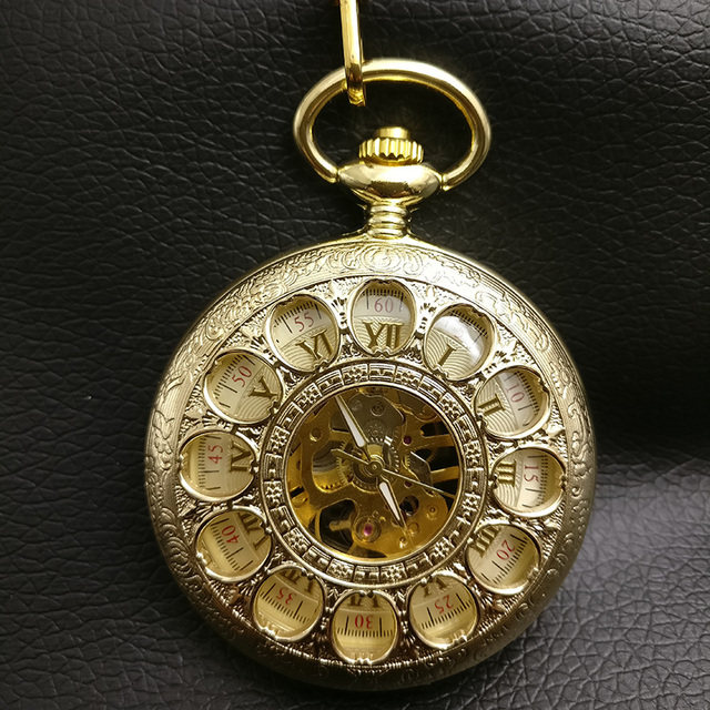 Gold Color Round Hole Mechanical Pocket Watch Men Skeleton Steampunk Industry Fo