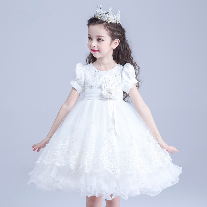 Formal Party Girl Dresses Western Style Child White Princess Flower Girl Vestidos Ball Gown Kids Clothes 2018 Summer AKF164025 brand high quality multi layers formal party girl dress children white princess flower girl vestidos 2016 kids clothes akf164027