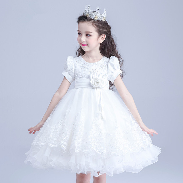 d87eecb4fb Formal Party Girl Dresses Western Style Child White Princess Flower Girl  Vestidos Ball Gown Kids Clothes