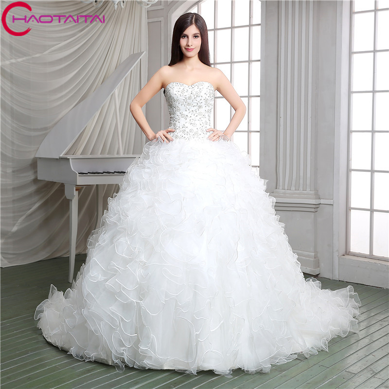 Top Crystal Luxury Wedding Dress Ruffles Ball Gown