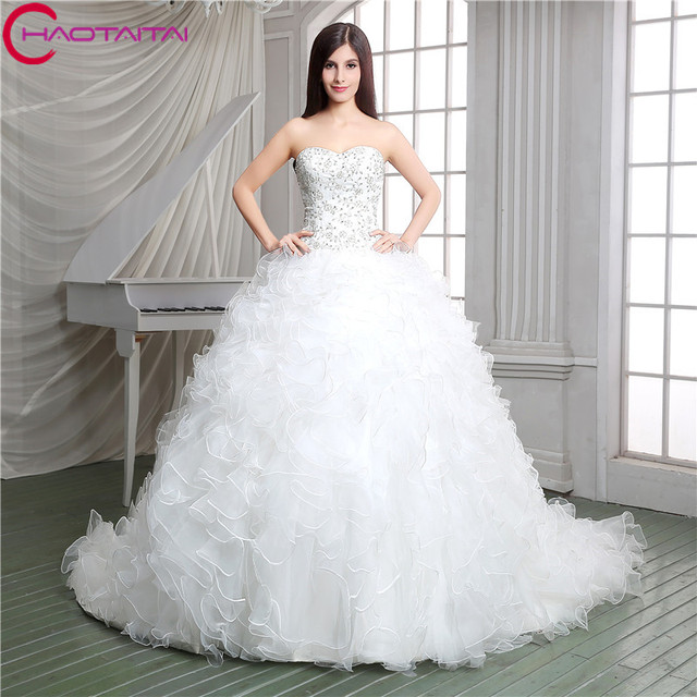 Wedding Gowns With Ruffles: Top Crystal Luxury Wedding Dress Ruffles Ball Gown