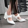 Весна И Осень Женская Обувь Насос Лакированная Кожа Одной Женщины Сладкий Белый Острым Носом Моды Туфли На Высоком Каблуке Толстый Каблук винтаж