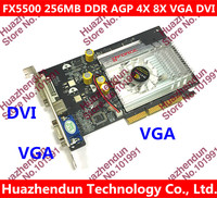 Direct From Factory Free Shipping NEW GeForce FX5500 256MB DDR AGP 4X 8X VGA DVI Video