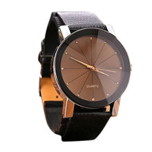 New Women watches Quartz Sport Stainless Steel Dial Leather Band Wrist Watch Men relogios masculinos gift saat clock(China)