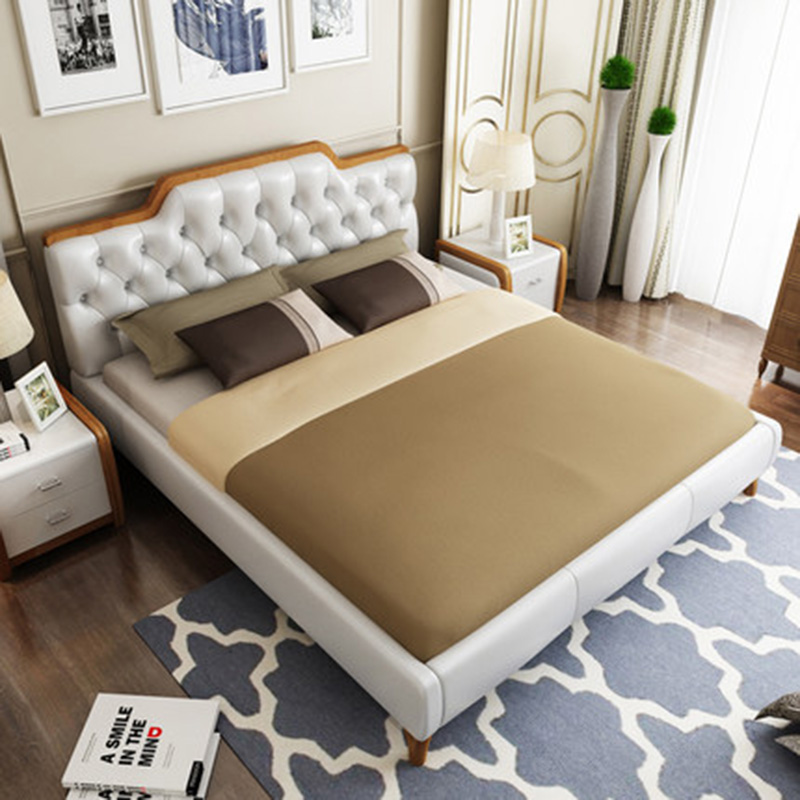 Nordic leather modern minimalist solid wood leather bed double marriage master bedroom storage bed simple odern nordic leather double wedding leather bed furniture