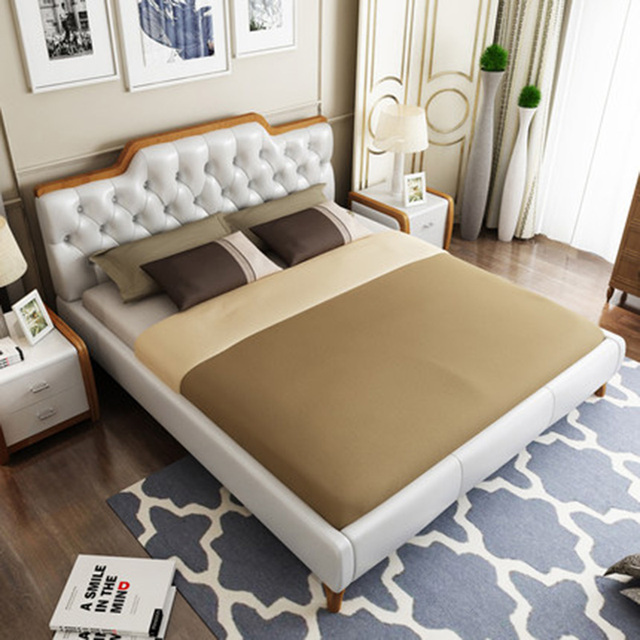 Nordic Leather Modern Minimalist Solid Wood Leather Bed Double