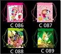 12 unids niñas fresa campanilla niños de dibujos animados cordón impreso mochila de la escuela de compras del partido de viajar bolsas regalos de cumpleaños