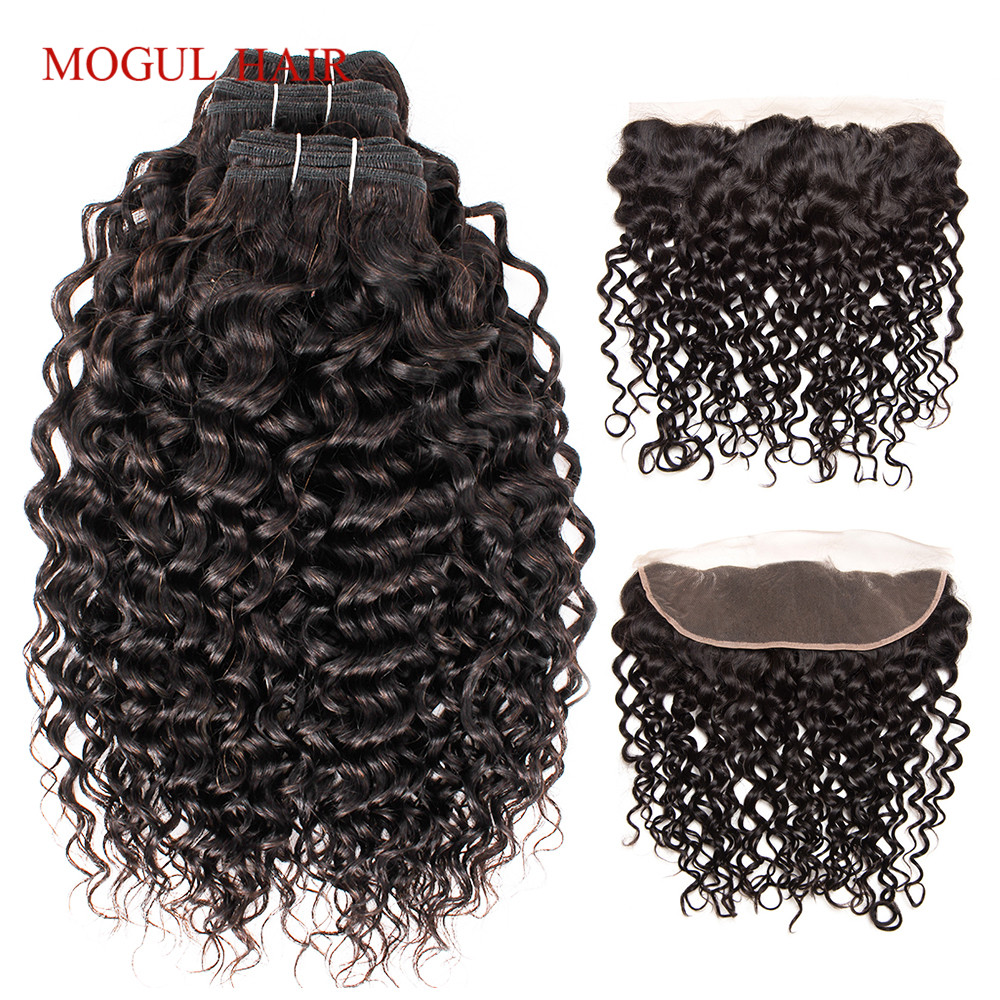 MOGUL HAIR Brazilian Water Wave Bundles With Frontal 2 3 Bundles With 4x13 Lace Frontal Remy