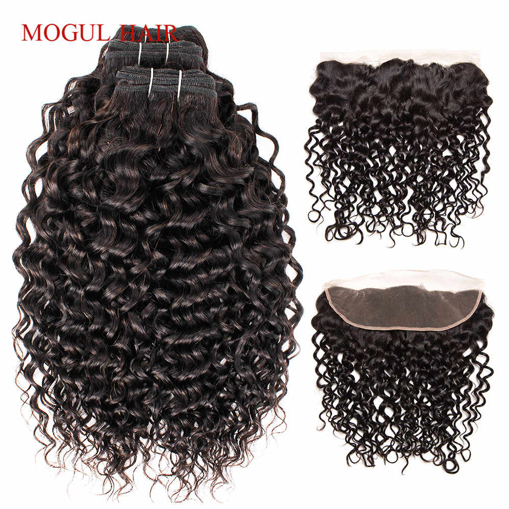 MOGUL HAIR Brazilian Water Wave Bundles With Frontal 2/3 Bundles With 4x13 Lace Frontal Remy Human Hair weave Extension
