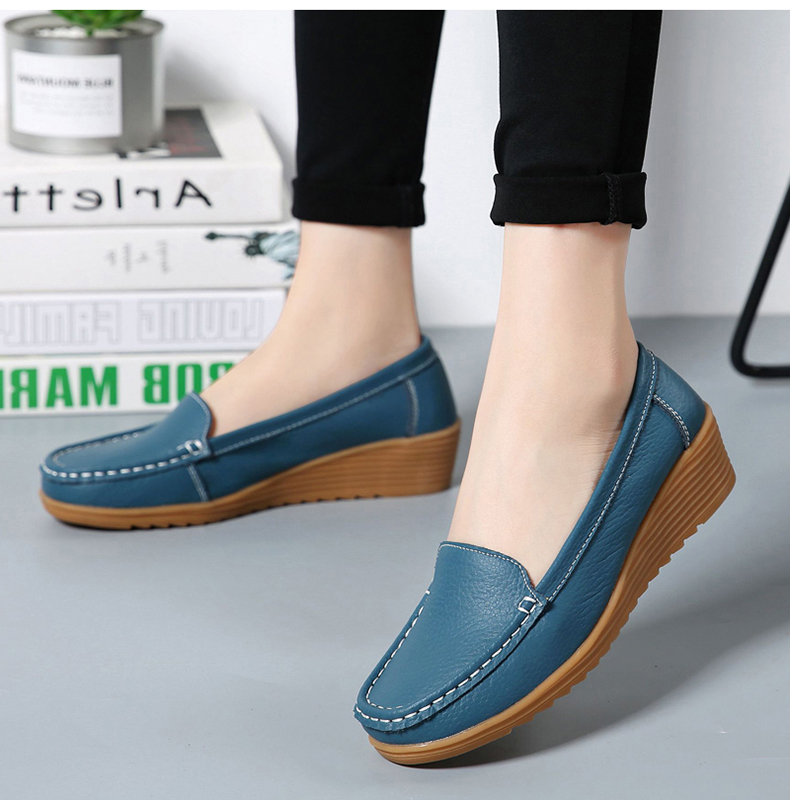Women Flats 2019 Spring Summer Shoes Women Heels 4.3CM Genuine Leather Chaussures Femme Casual Loafers Ballet Flat Shoes