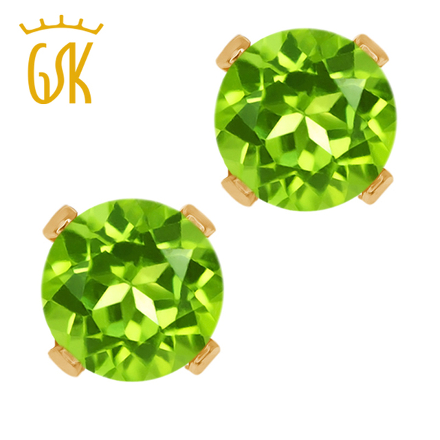 Real 10K Yellow Gold 1.20 Ct Round Green Natural Peridot Stud Earrings For Women Party Jewelry GemStoneKing