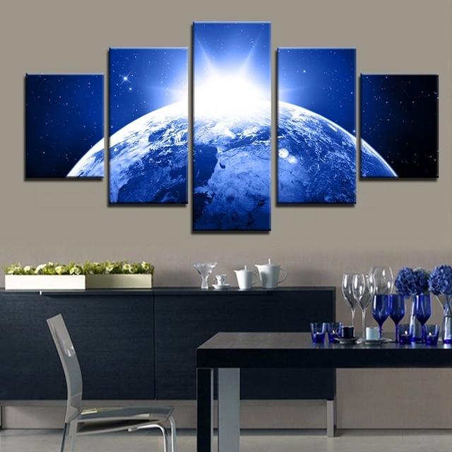Peinture Pour Le Salon Mur Art Bleu Lumire De La Terre Peinture  L
