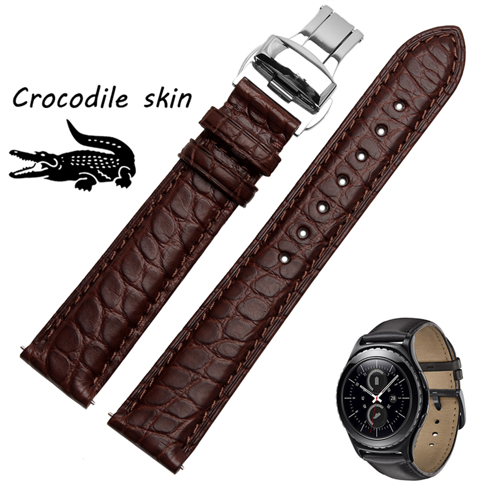 For Samsung Gear s2 Classic Quality Crocodile skin Watch band Mens Luxury Smart watches accessories