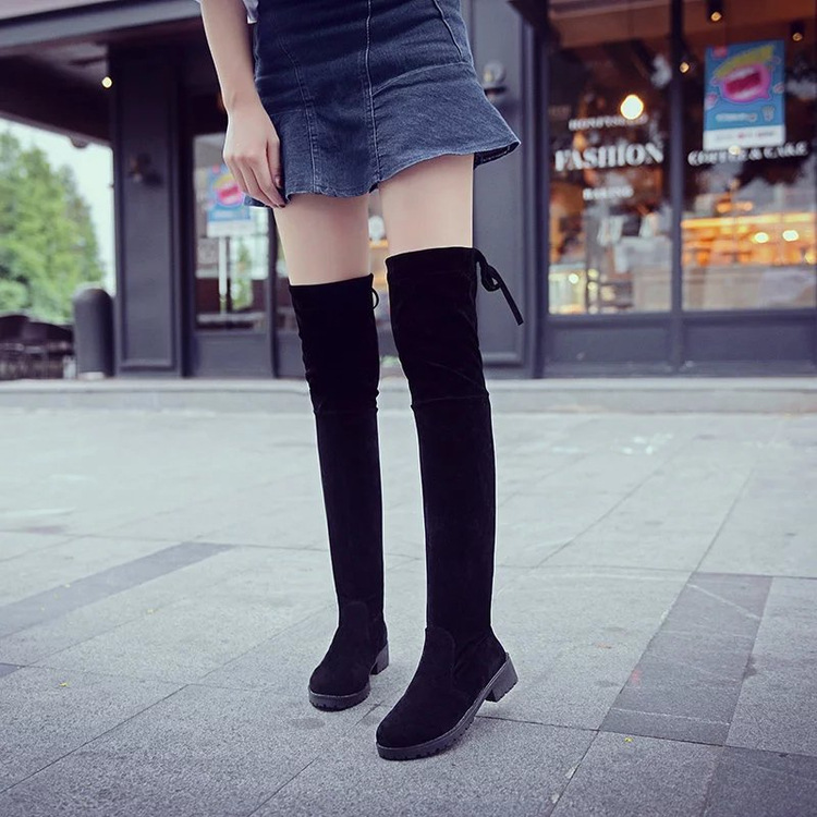 New Winter Flock Womens Thigh High Boots Stilettos Sexy Over the Knee Boots Round Toe High Heel Long Boots Black Size 35-40