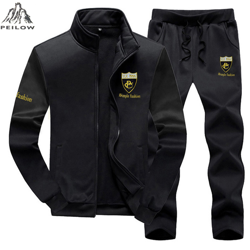 PEILOW Brand Men Sets Fashion Autumn Spring Sporting Suit Sweatshirt+Sweatpant Tracksuit Men`s sportswear Clothing 2 Pieces Sets ...