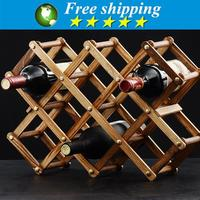 High quality solid wood folding wine racks,foldable wine stand wooden wine holder kitchen bar display shelf,Free shipping.