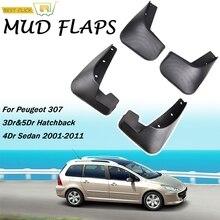 רכב בוץ דשים עבור פיג ו 307 3dr & 5dr Hatchback הפתח 4 דלת סדאן 2001 2011 Splash Mudflaps משמרות בוץ דש מגן בץ פגוש