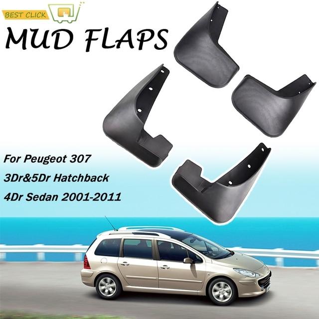 Car Mud Flaps For Peugeot 307 3dr & 5dr Hatchback Hatch 4 Door Sedan 2001 2011 Mudflaps Splash Guards Mud Flap Mudguard Fender