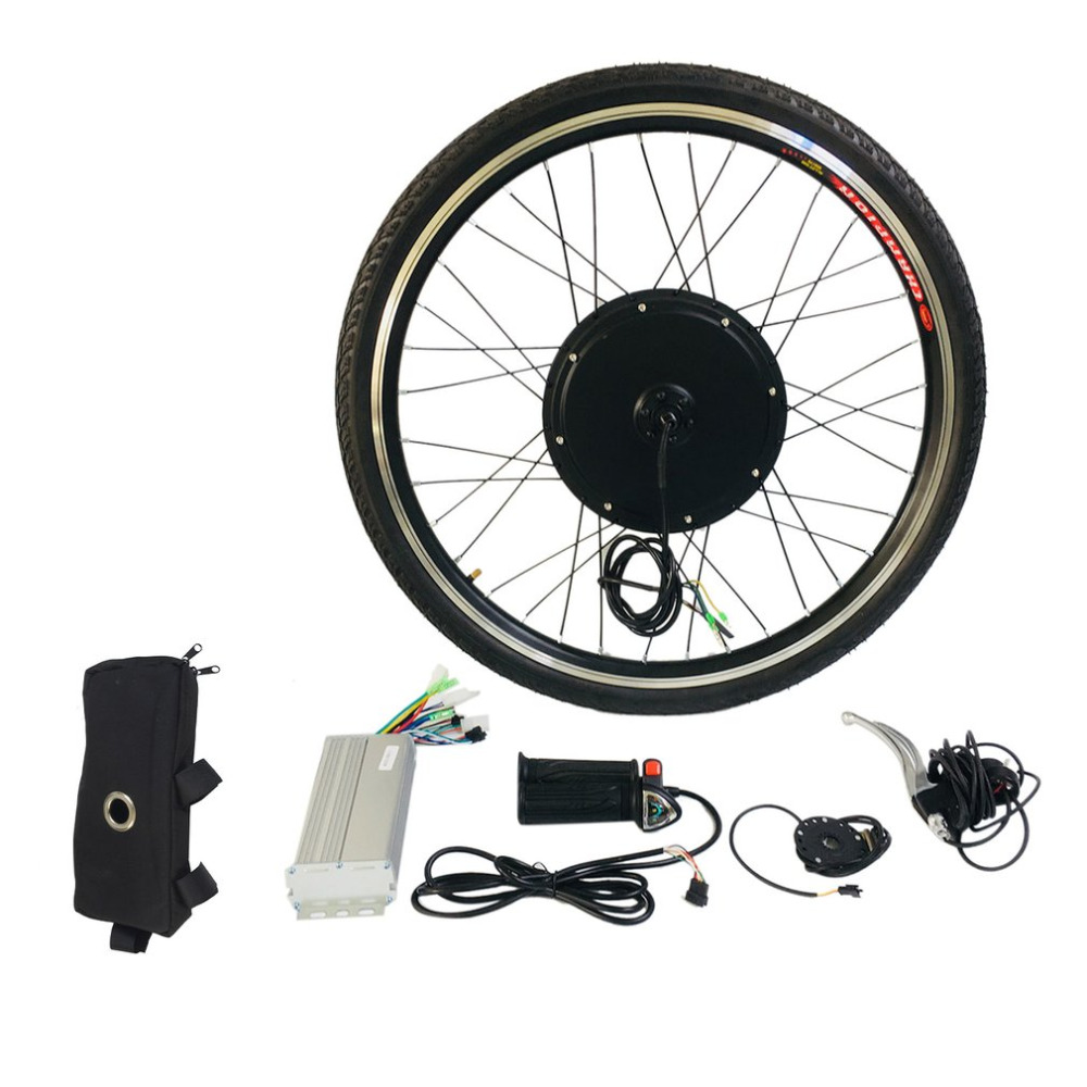 1000W Electric E Bike Conversion Kit 26 Front Wheel Motor Bicycle Hub 48V Aluminum Alloy Tool Kit Crank Speed Sensor ...