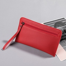 Fashion Women Zippers Long Wallets Ladies Coin Purse Leather Thin Wallets Female Long Chains Money Bags