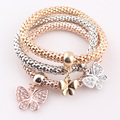 NEW Elastic Crystal Butterfly Bracelet Snake Chain Charms Bracelet Bangle for Women 3 pieces JJAL B323