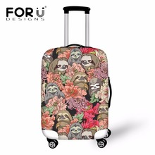 Купить с кэшбэком FORUDESIGNS Cartoon Cute Sloth Print Travel Suitcase Cover Travel Accessories Dustproof Rain Cover for 18-30 Inch Suitcase Case