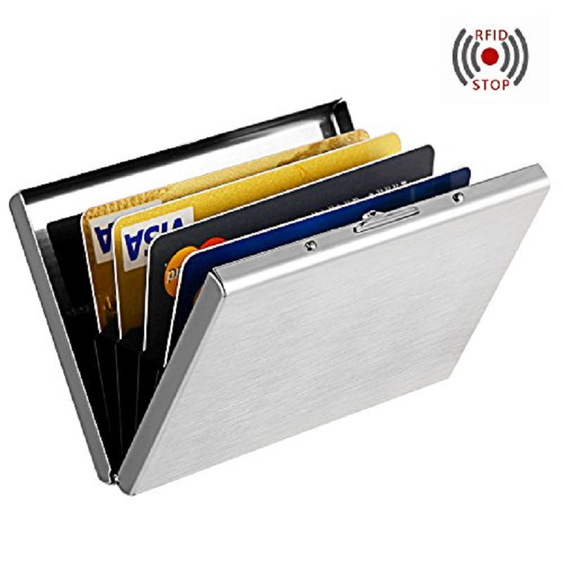 High-Grade stainless steel men credit card holder women metal bank card case card box rfid card wallet monitor portátil hdmi ps4