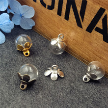 5sets 8mm ball glass globe with five petals cap set glass vial pendant DIY jewelry accessories glass necklace pendant 5sets 25mm micro landscape ecological glass bottle glass pots with jewelry findings set glass bottle moss diy glass globe set