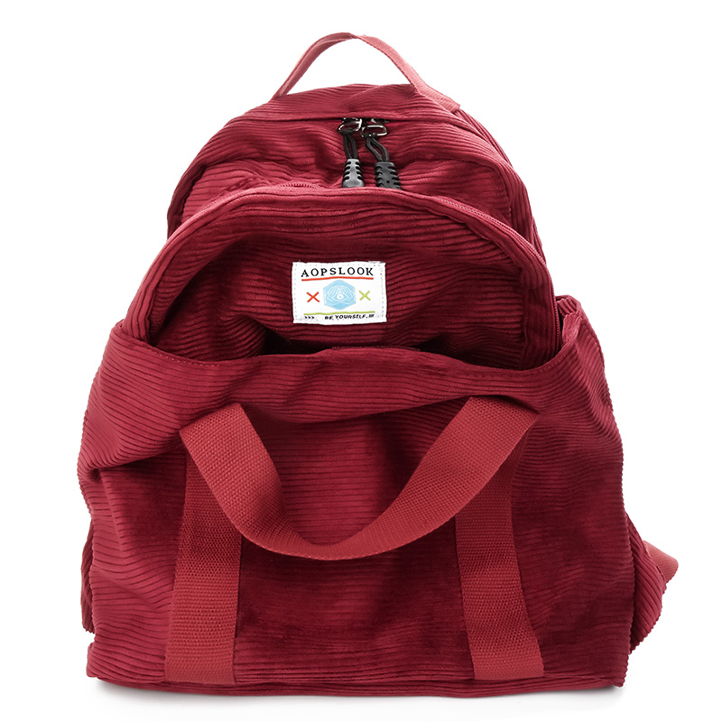 2018 New Deformable multifunction Backpack Large capacity corduroy female knapsack Women Backpack Casual Bags School Bag Mochila han edition of the new joker food corduroy corduroy backpack male and female college students bag contracted wind backpack