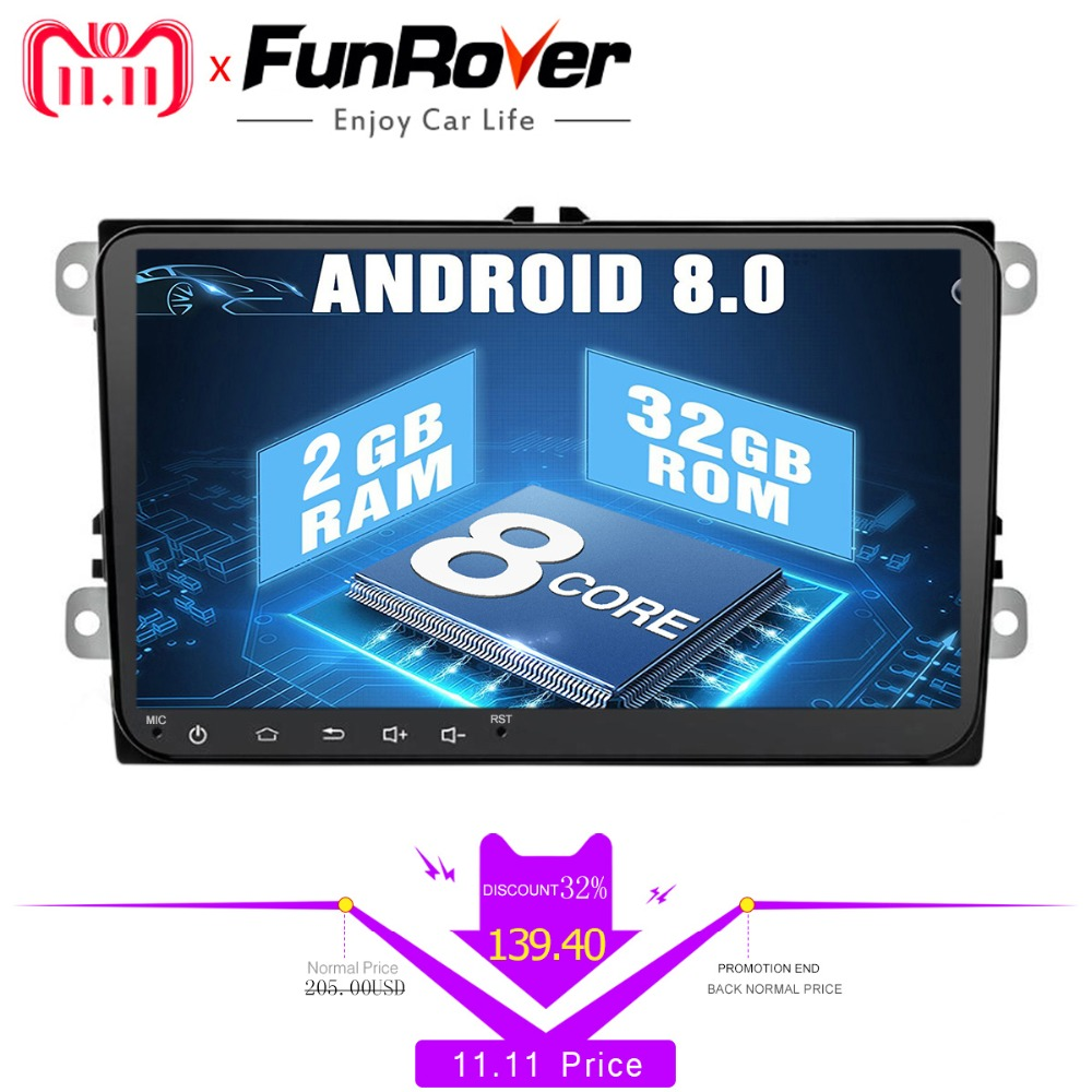9 8 cores Android 8.0 2 din Car DVD Player for vw passat b5 b6 golf 5 6 polo tiguan Car Multimedia Player Radio Gps Stereo navi eunavi 2 din 9 android 8 0 4g ram car radio stereo gps navi for vw passat b6 cc polo golf 5 6 touran jetta tiguan magotan seat