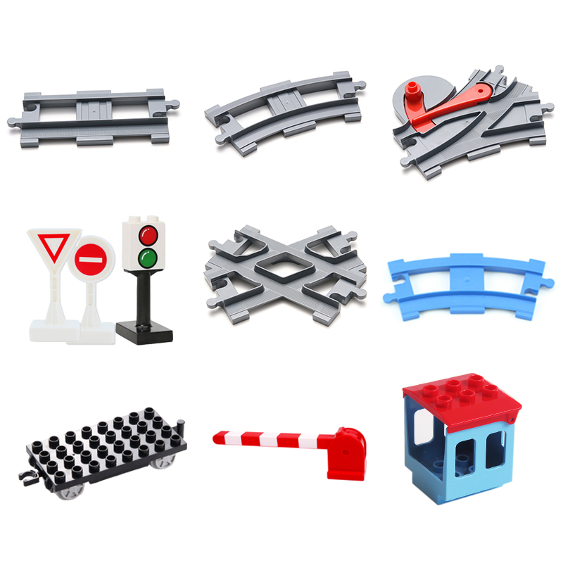 Vehicle Track Sets Bricks Railway Big Rail Building Blocks Trailer Track Accessory Car Gift DIY Child Toys Compatible With Duplo