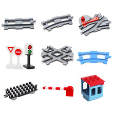 Vehicle Track Sets Bricks Railway Big Rail Building Blocks Trailer Track Accessory Car Gift DIY Child Toys Compatible With Duplo(China)