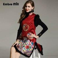 Осенне зимняя куртка пальто для Для женщин Винтаж воротник стойка вышивка элегантный Леди Свободные Топ короткая верхняя одежда женский